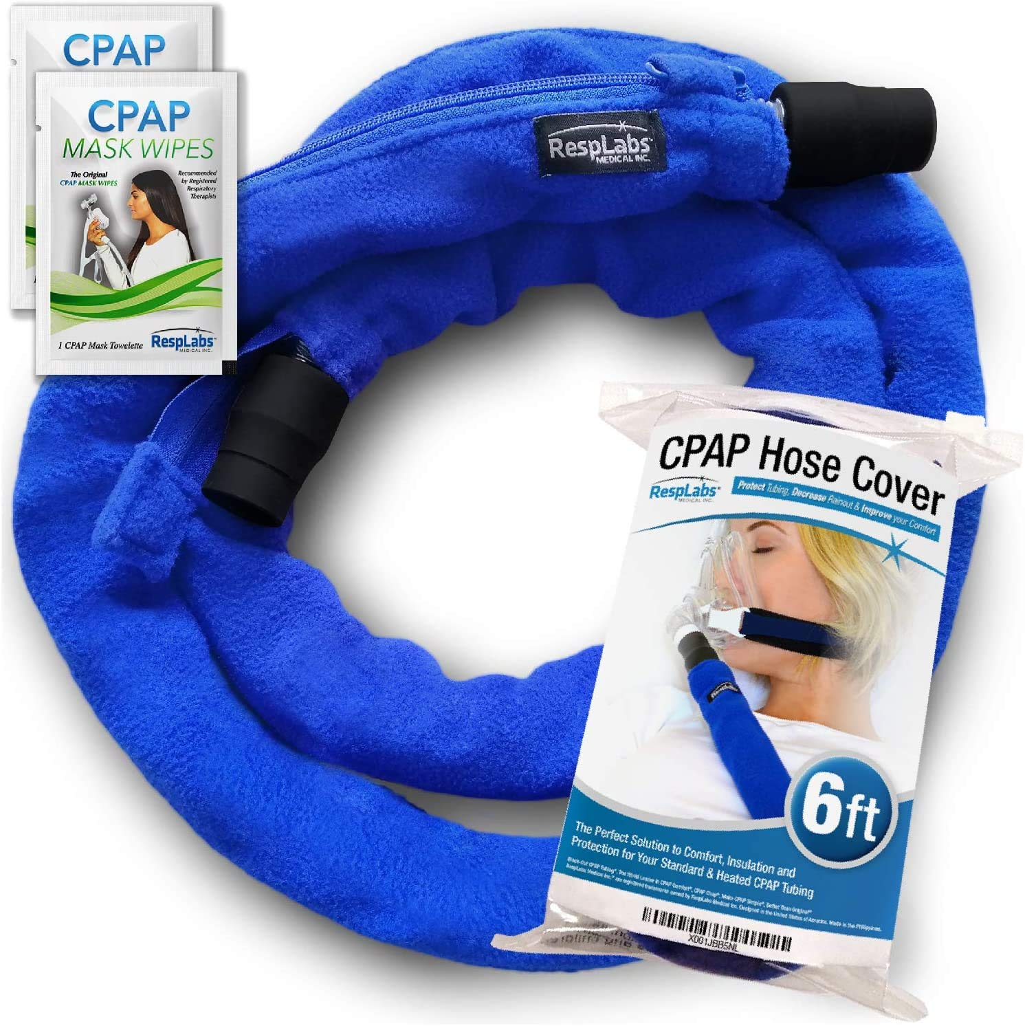 RespLabs CPAP Hose Cover with Zipper - Fits All Type of Tubing, 6 Foot - Reusable, Comfort Fleece, Tubing Insulator. Super Soft, Washable, Breathable Cover.