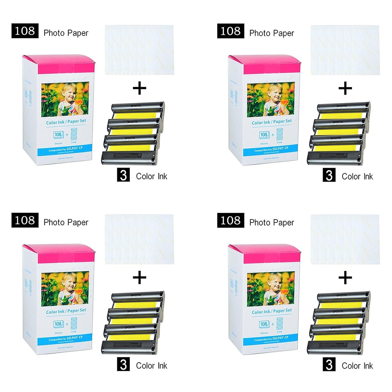 SuperInk 4パック交換用互換Canon kp-108in 12カラーインク432用紙シート4 x 6インチ用紙光沢for Selphy cp100 cp200 cp220 cp300 cp330 cp400 cp510 cp600ワイヤレスコンパクトフォトプリンタ B07FG7P56B