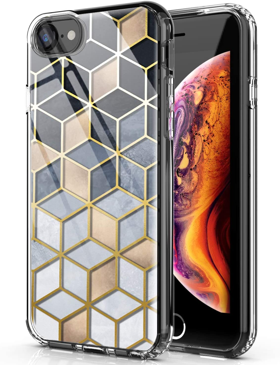 PBRO Case for iPhone SE 2020 Case,iPhone 6/6s Case,iPhone 7/8 Case Shiny Marble Case Slim Soft TPU Rubber Bumper Silicone Protective Phone Case Cover for Apple iPhone SE 2020/6/6S/7/8-Gold