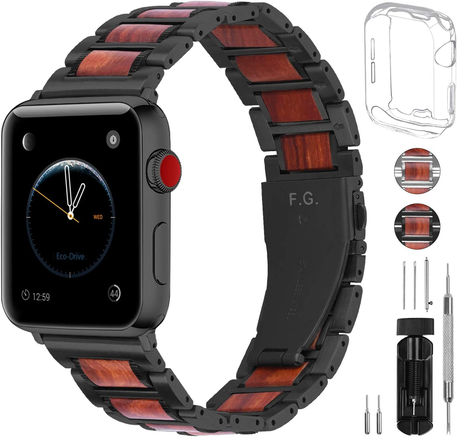 Fullmosa Apple Watch Band 44mm 42mm 40mm 38mm,2 Colors Sandal Wooden Metal Strap Compatible with iWatch Band Series SE/6/5/4/3/2/1,44mm Black + Black Hardware