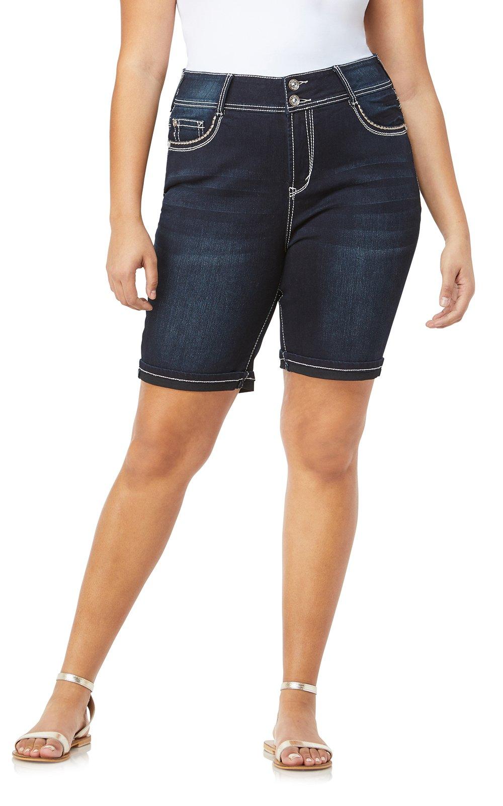 WallFlower Women's Juniors Plus-Size Luscious Curvy Embellished Bermuda Shorts in Kaylee, 18 Plus