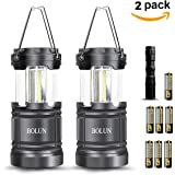BOLUN Camping Lantern 2 Pack Portable Outdoor COB LED Hand Held Flashlights Collapsible Gear Equipment for Hiking Hunting Fishing Emergencies Outages