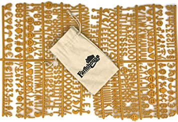 /& Burlap Storage Bag Includes Letters, Symbols//Emojis, Numbers, Punctuation 3//4 460 Characters Letter Set for Changeable Felt Letter Boards Gold