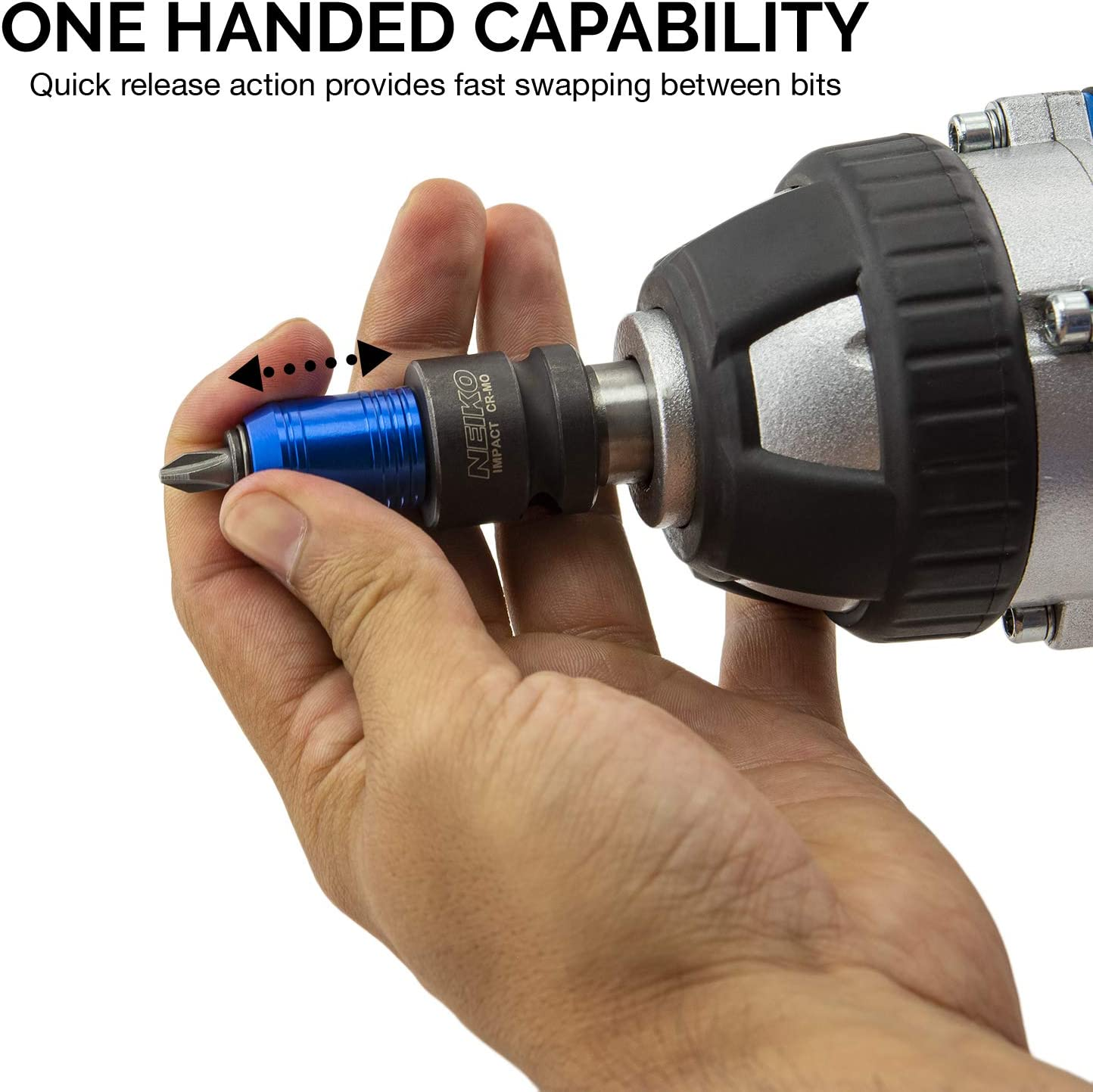 """Impact Wrench Adapter 1//2/"""" 1//4/"""" nut on bit recording Hex Shank #N XK"""