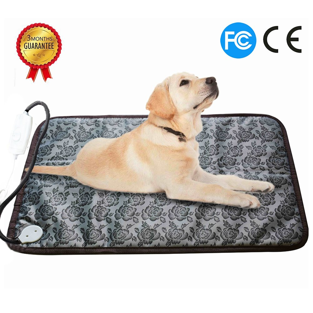 RIOGOO Pet Heating Pad Large, Dog Cat Electric Heating Pad Indoor Waterproof Adjustable Warming Mat with Chew Resistant Steel Cord 28''x17.7