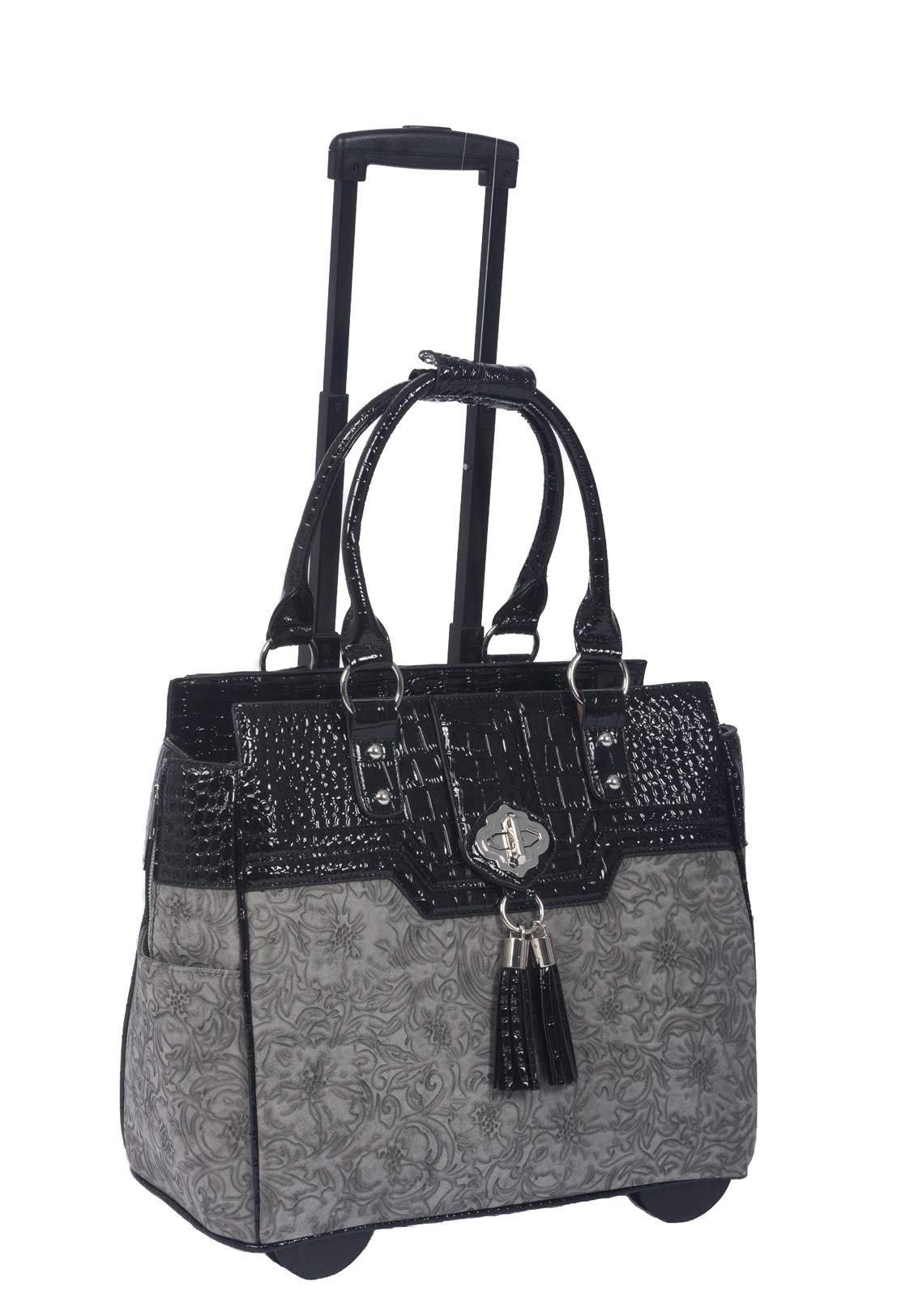 JKM and Company The Savannah Gray & Black Alligator Faux Leather Compatible with Computer iPad, Laptop Tablet Rolling Tote Bag Briefcase Carryall Bag