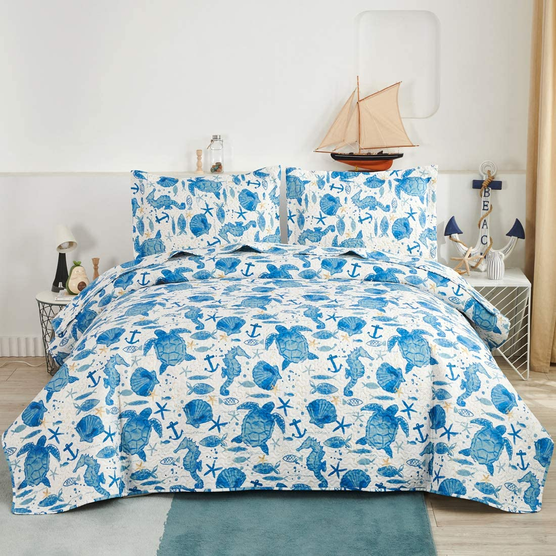 Oliven Marine Life Bedding Turtle Quilt Queen/Full Size Coastal Bedspread Beach Sea Turtle Seahorse Shell Starfish Anchor Ocean Coverlet Daybed Cover Beach Theme Bedroom Decor