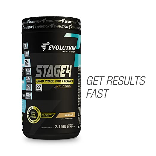 Evolution Advance Nutrition STAGE 4 Quad Phase Whey Protein Matrix (2 lbs, Vanilla)...