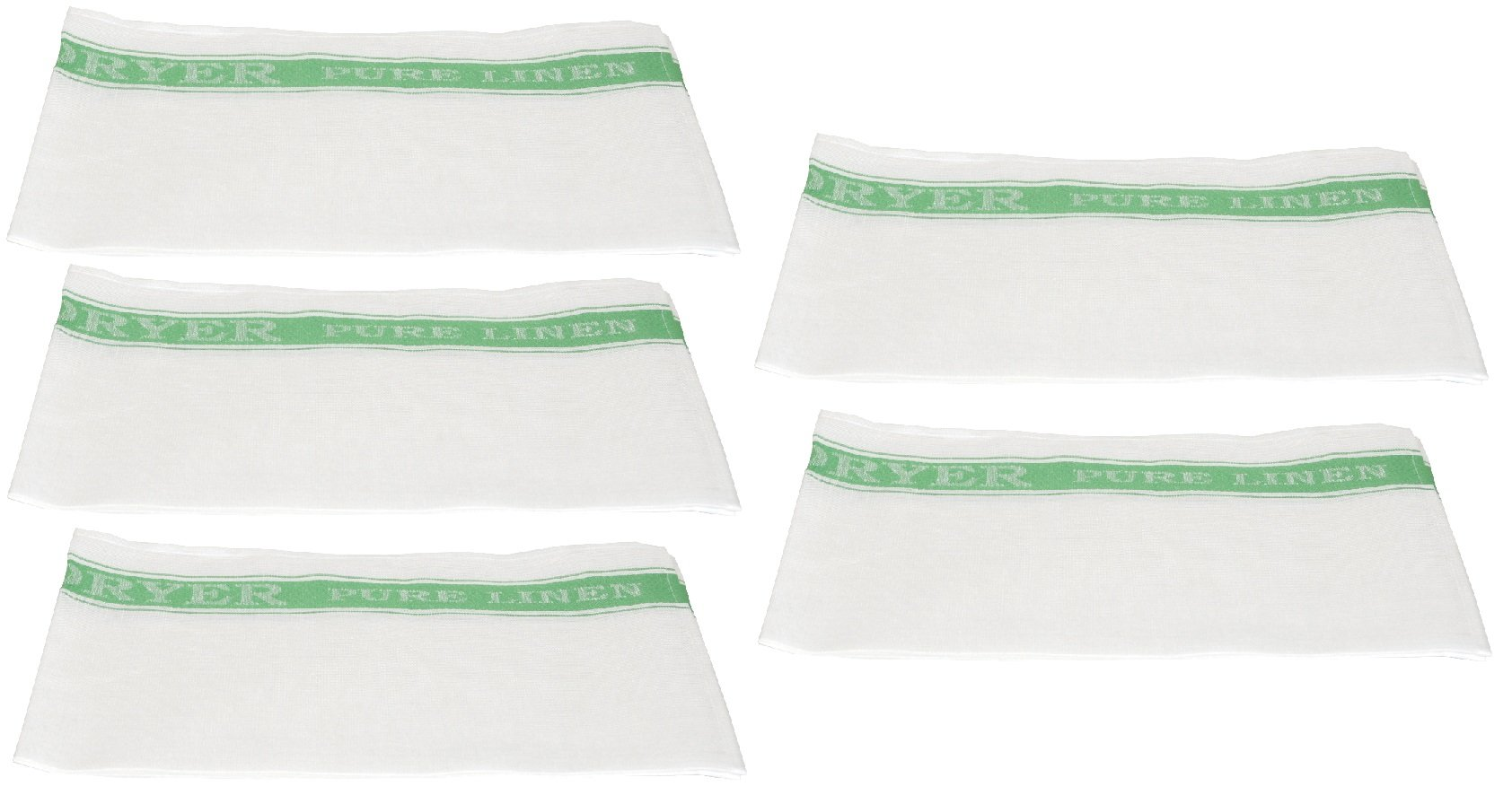McCaw Allan Easi-Dryer Linen Glass Cloth Sets GREEN (5)
