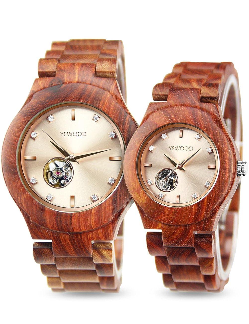 腕時計 ペアウォッチ 自動巻 カップル 赤檀木製腕時計 珍しい美しい木目 1セット時計 背面透かし木の時計 人と被らない 木肌は緻密 銘木で丁寧に作り上げる機械式ウッドウォッチ 高級包装付け ユニセックス レディース 時計 メンズ 時計 | 腕時計 | 腕時計 通販