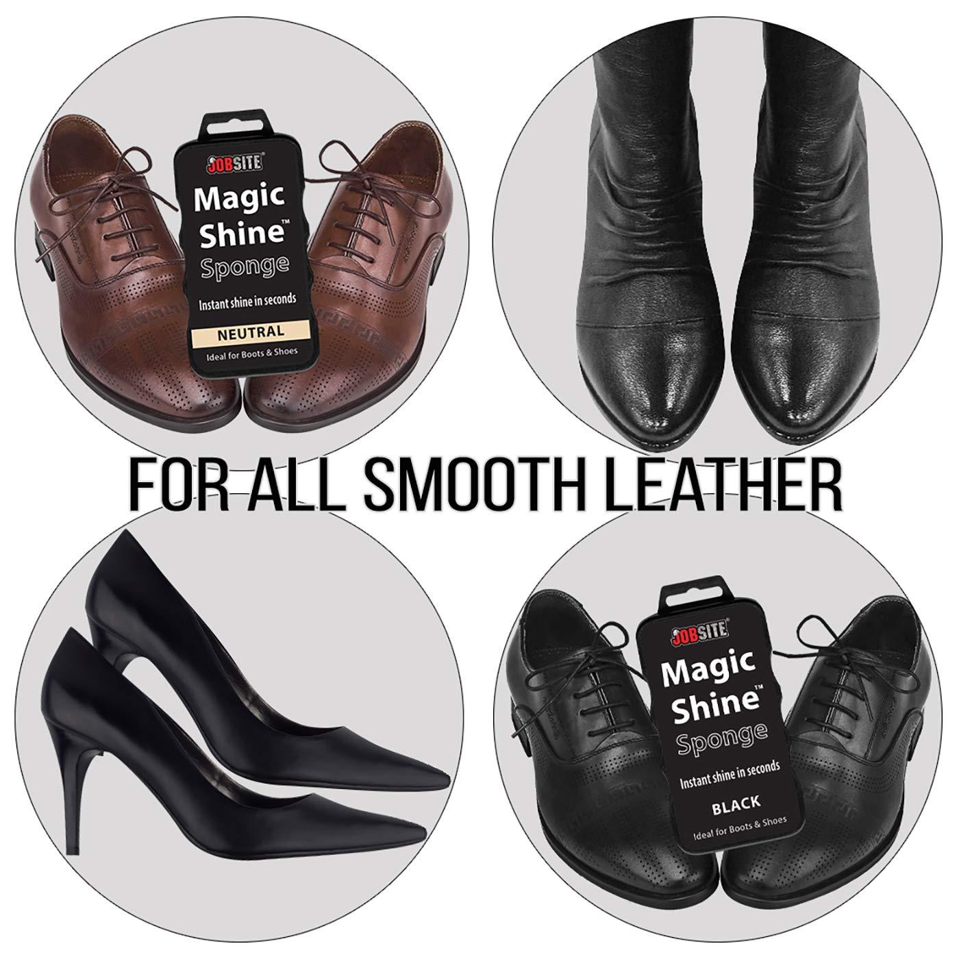 JOB SITE Instant Express Leather Boot /& Shoe Shine Sponge Black