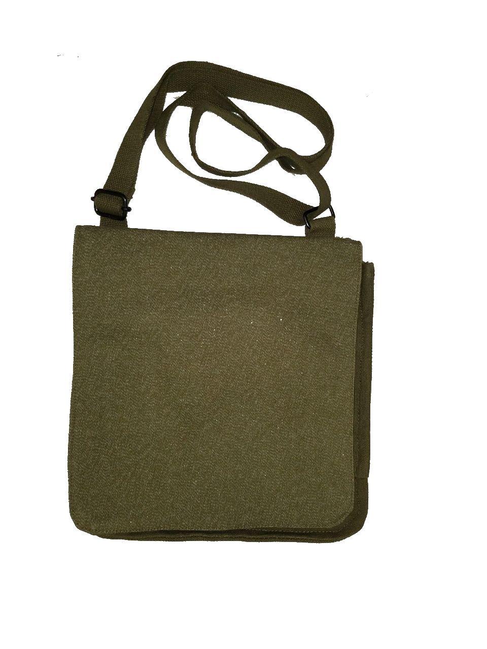 Bag, Canvas Messenger, Imported, Salt & Pepper OD