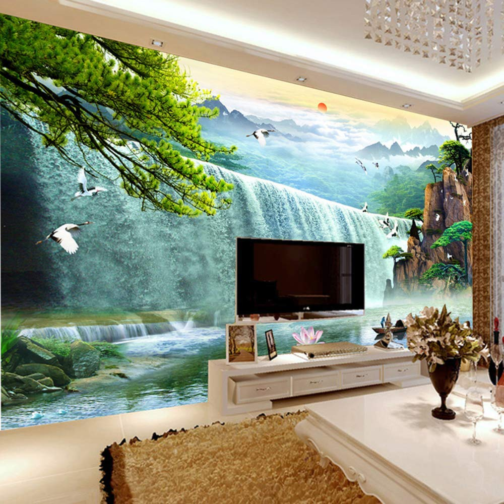 Pbldb 3D Waterfalls Nature Scenery Mural Wallpaper Living Room Tv Sofa Study Background Wall Paper Home Decor-350X250Cm by Pbldb (Image #4)