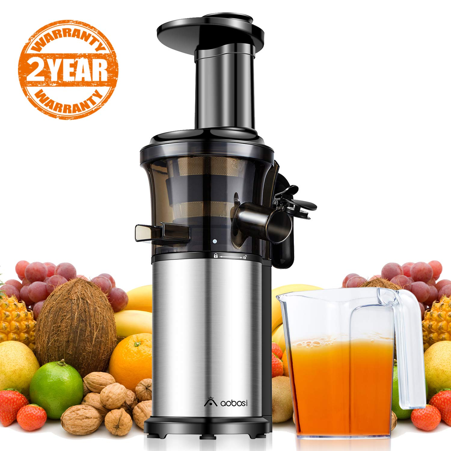 Aobosi Slow Masticating Juicer Extractor Compact Cold Press Juicer Machine with Portable Handle/Quiet Motor/Reverse Function/Juice Jug and Clean Brush for High Nutrient Fruit & Vegetable Juice New Package---ON SALE