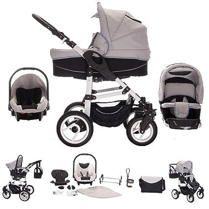 Bebebi Paris Carrito de bebé 3 en 1, neumáticos de caucho duro gris Concord