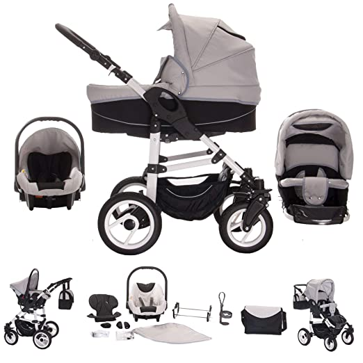 Bebebi Paris - Carrito de bebé 3 en 1, neumáticos de aire gris ...