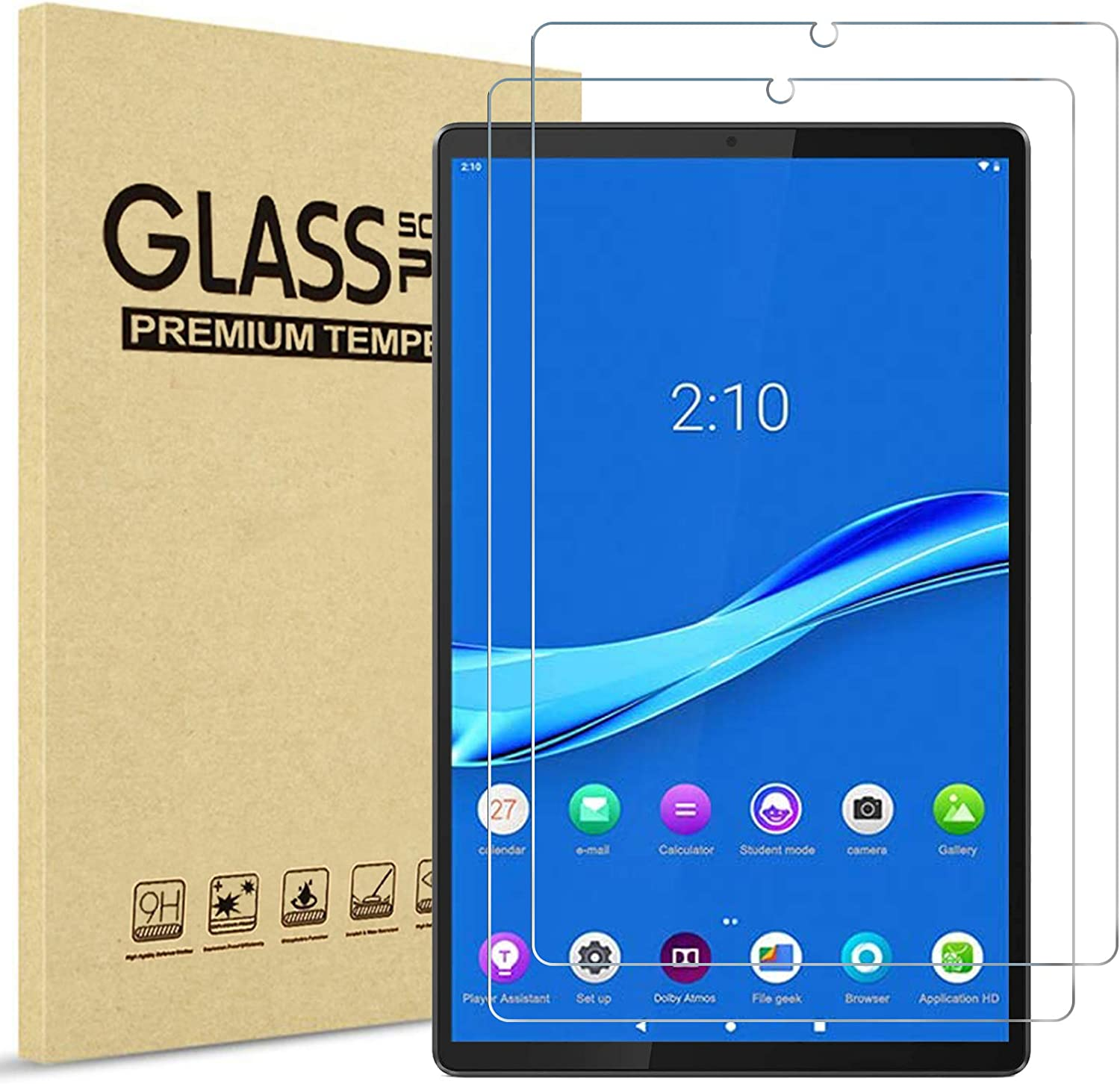 [2 Pack] ProCase Lenovo Tab M10 FHD Plus 10.3 Inch Screen Protector TB-X606F TB-X606X, Tempered Glass Screen Film Guard for Lenovo Tab M10 Plus (2nd Gen) 2020 Release