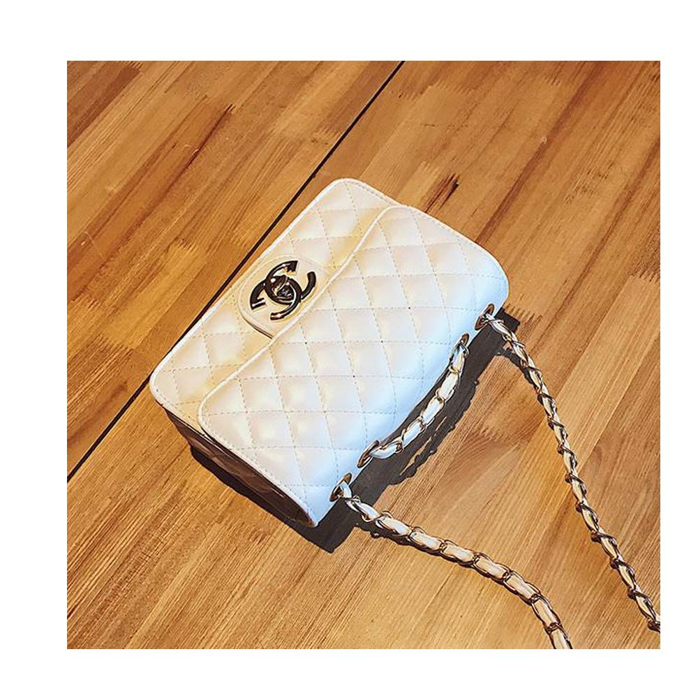 40d5be0e8c31 Crossbody Purse Lingge Laboy Flap Leather Shoulder Bag Handbag Holder with  Chain -White Color