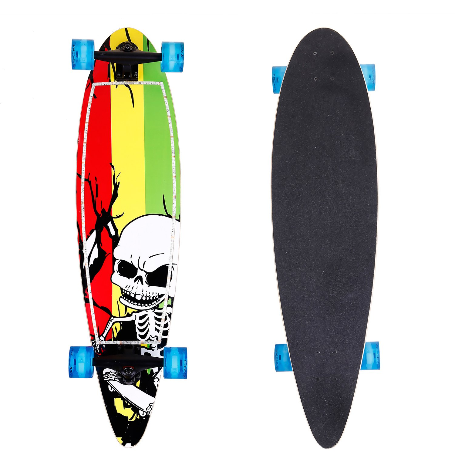 ANCHEER Pintail Cruiser Longboard Complete Long Skateboard 40x10 Inch for Boys Girls and Adult