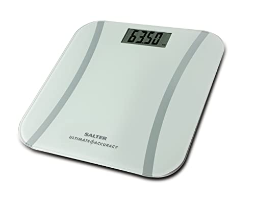Salter Ultimate Accuracy Electronic Digital Bathroom Scales, Measure 50g Increments - Accurate Readings + Curve Design, Easy to Read Display, Weigh Metric + Imperial, Kg St lbs, 15 yr Guarantee - White