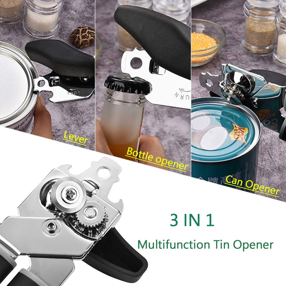 Bokdy Can Opener Manual Professional Stainless Steel Good Grips with Built-in Bottle Opener