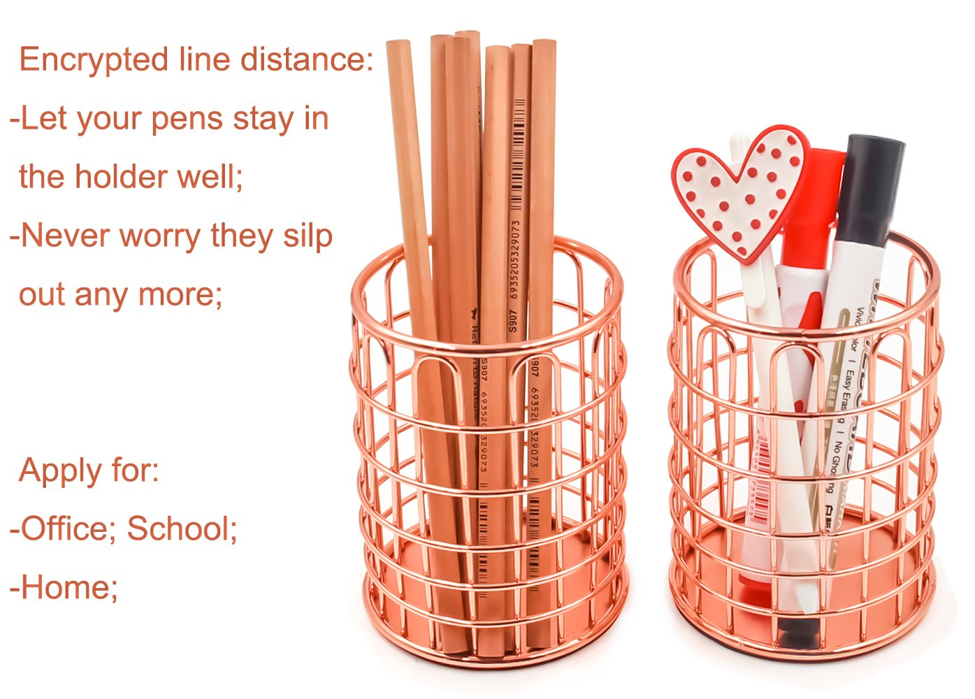 Superbpag Wire Metal Desktop Pencil Holder, Set of 2, Rose Gold by Superbpag (Image #7)