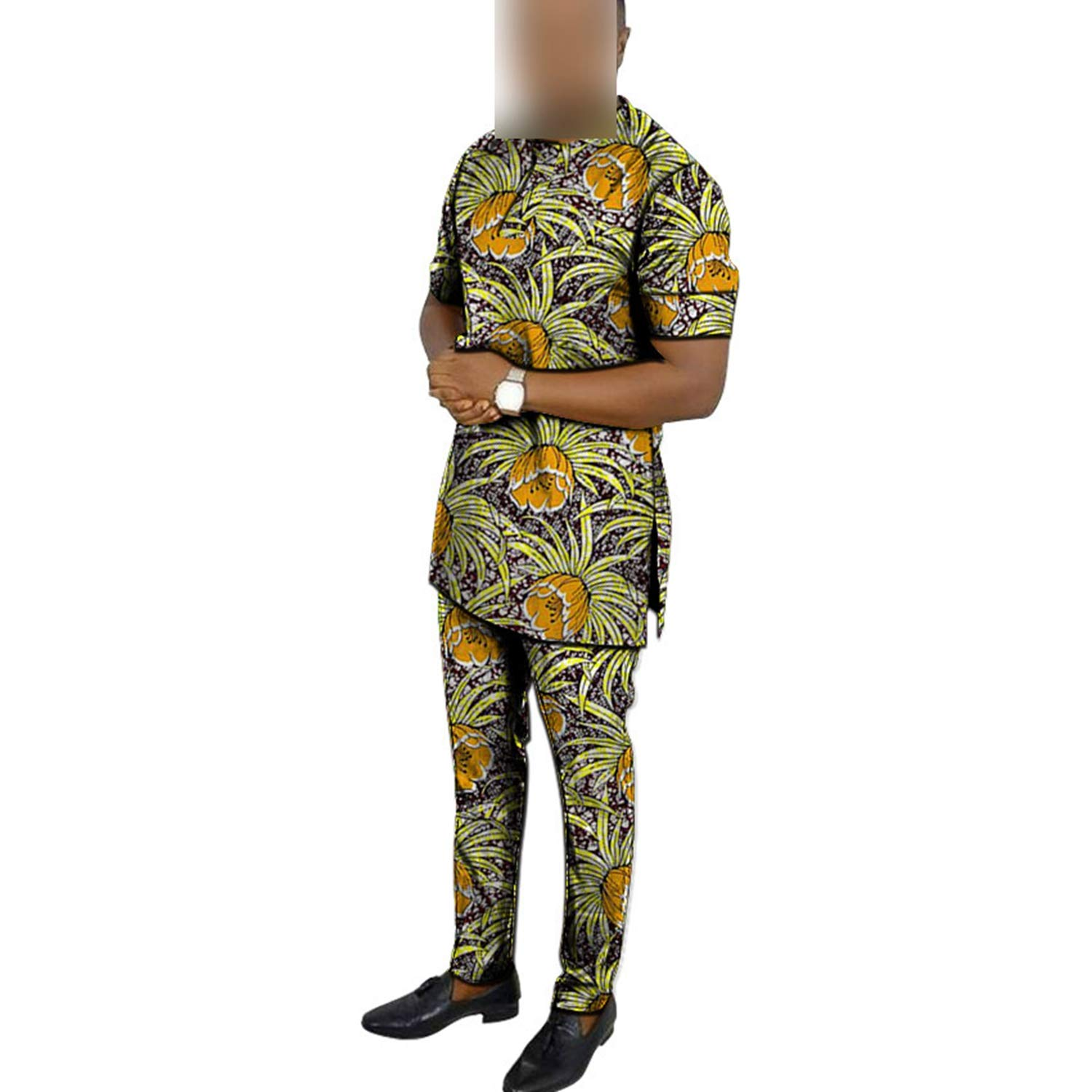 Sonjer African Clothing Mens Print Set Short Sleeve Shirt with Trouser Pant Sets