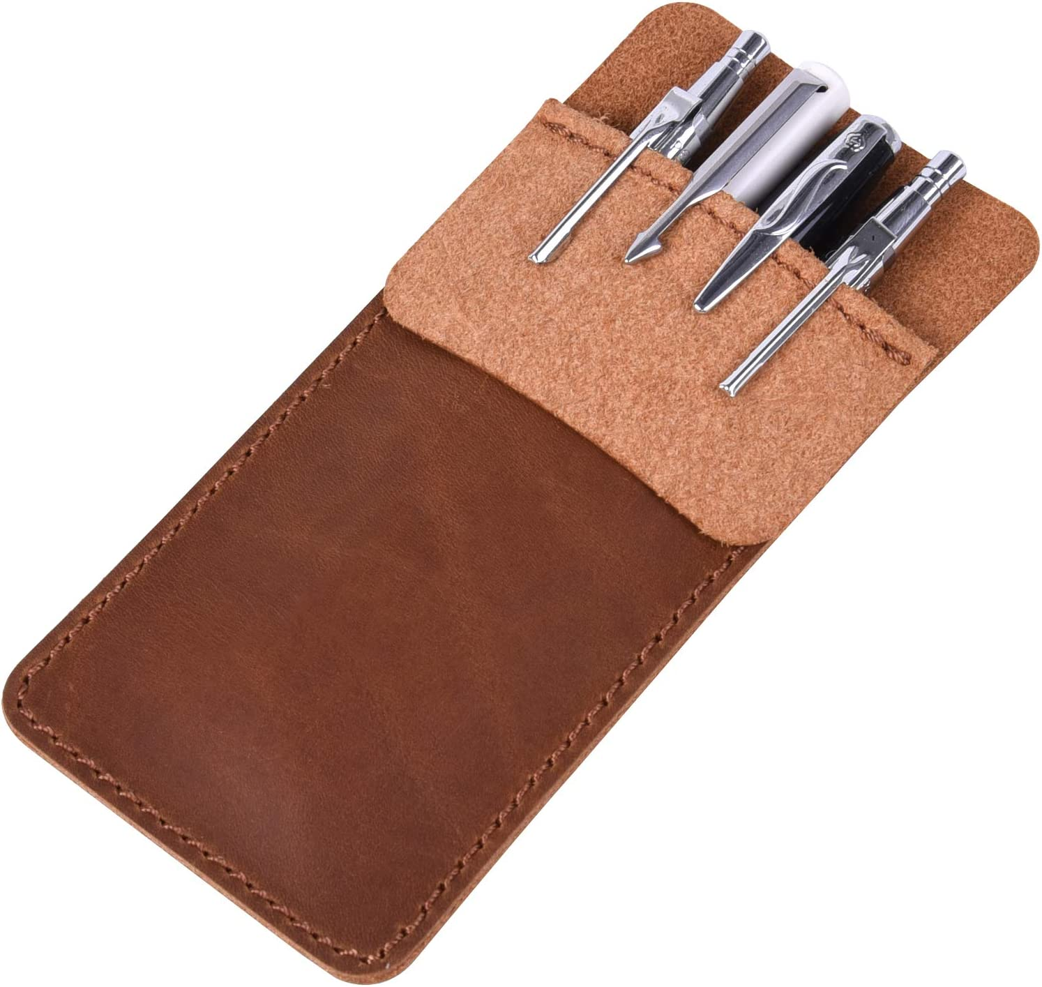 Wisdompro Genuine Leather Heavy Duty Pocket Protector Pen Holder Pouch for Shirts, Lab Coats, Pants - Multi-Purpose; Holds Pens, Pointers, Pencils, and Notes - Vintage Brown