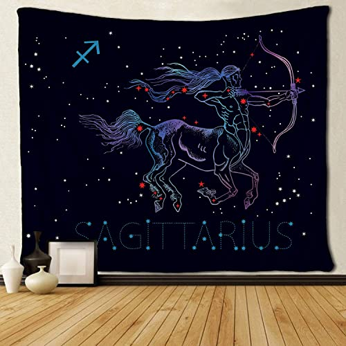 SARA NELL Wall Tapestry Sagittarius Archer Centaur Horoscope Astrology Greek Mythology Vintage Style Engraving Wall Hanging Tapestry Tapestries for Living Room Bedroom Dorm Decor 60X90 inches