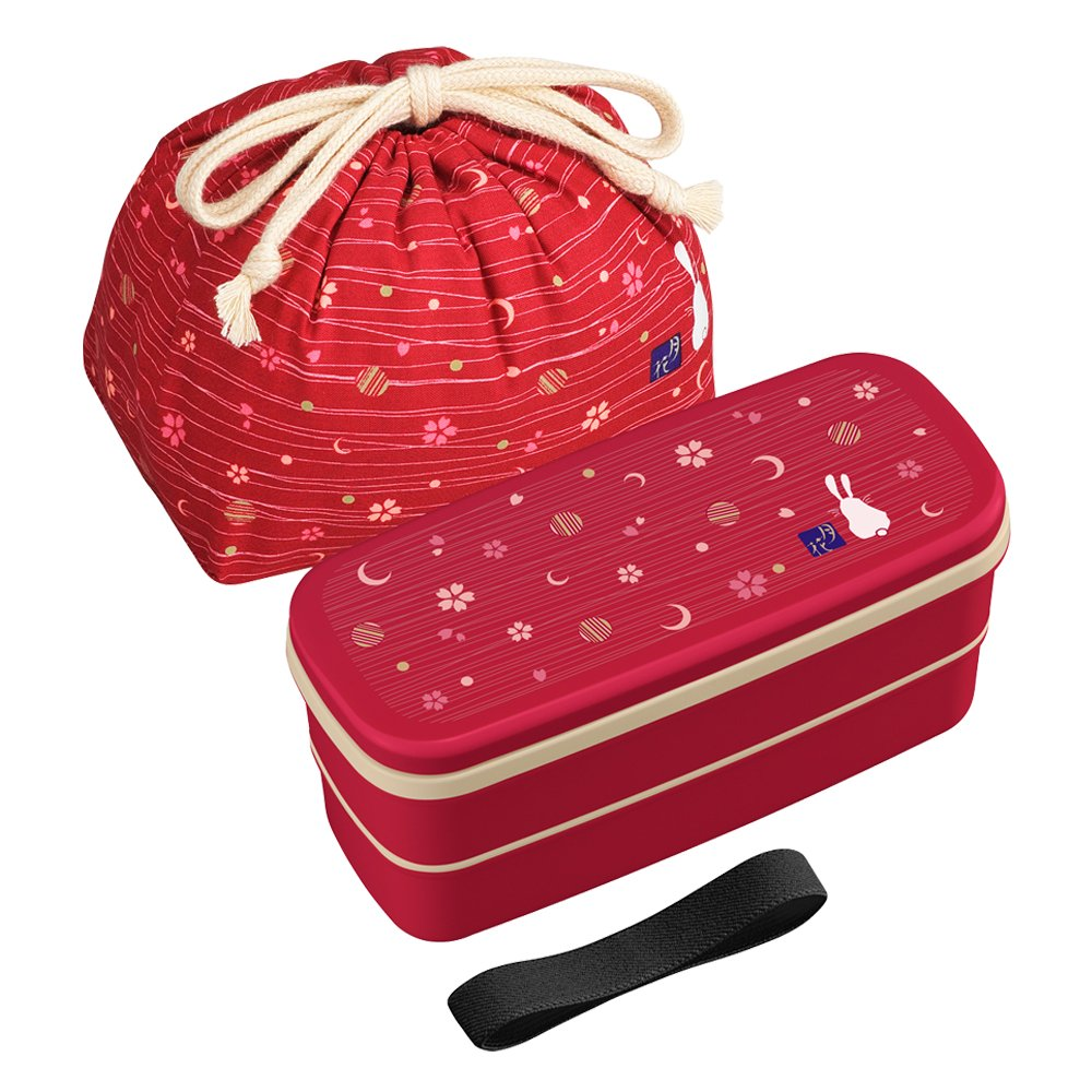 OSK Japanese Traditional Rabbit Moon Bento Box Set, PW-28C Renewal Version, Microwave-safe, Dishwasher-safe, Chopsticks, Bento Bag, Red