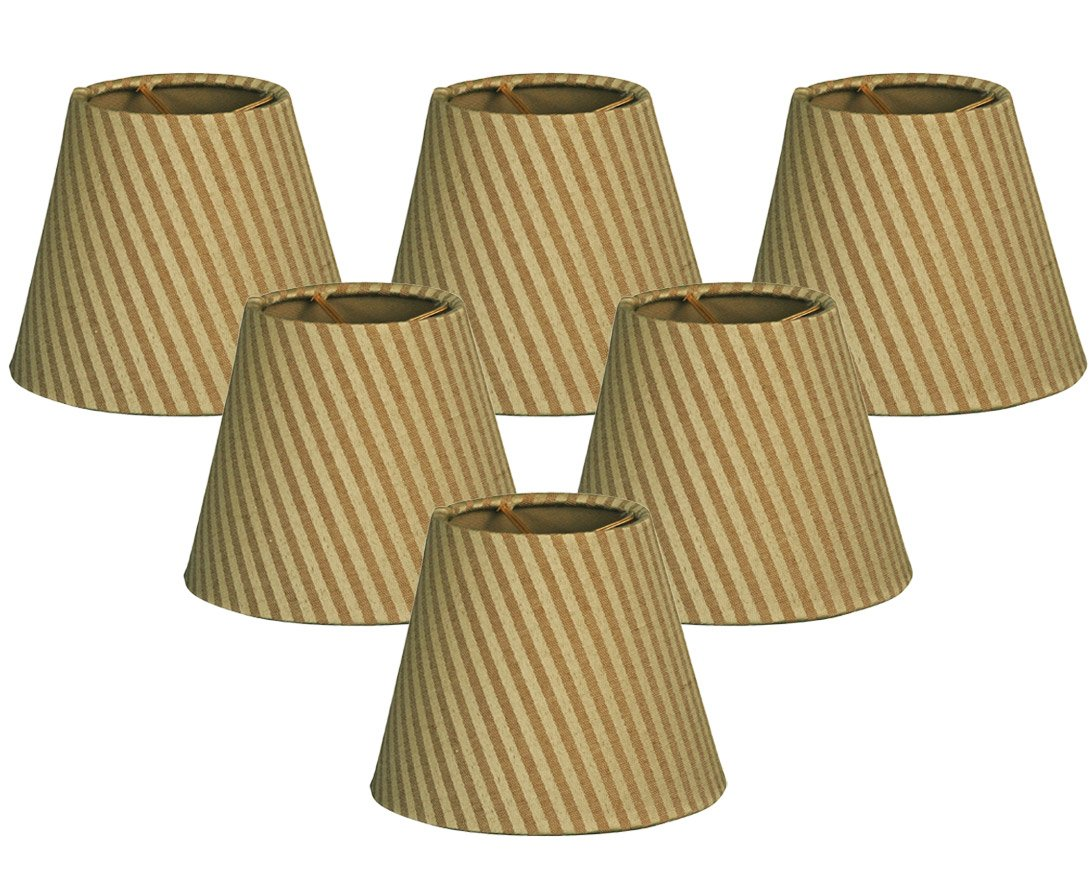 Royal Designs 6'' Hardback Empire Gold/Green Chandelier Lamp Shade, Set of 6, 3 x 6 x 5.5 (CS-949-6GGS-6)