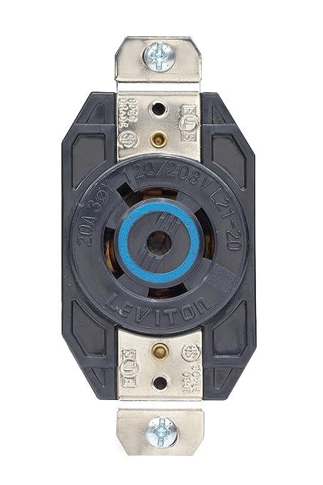 Leviton 2510 20 Amp, 120/208 Volt- 3PY, Flush Mounting Locking ...