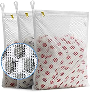 TENRAI Set of 3 Delicates Mesh Laundry Bags, with YKK Zipper, Hanging Ring, Lingerie, Gloves,Socks, Bra Mesh Wash Bags(3 Medium)