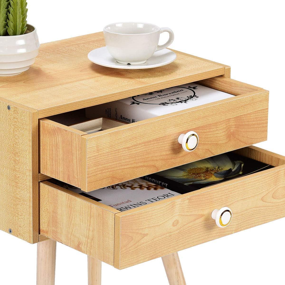 COSTWAY Comodino Naturale Tavolino con 2 Cassetti in MDF Ecologico e Resistente 2 cassetti
