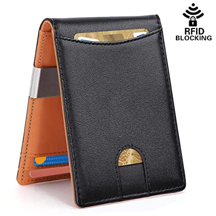 8555fca09a8f SIim Wallet with Money Clip for Mens | RFID Blocking Wallet | Minimalist  Thin Bifold Genuine Leather Wallet-Mens | Credit Card Holder | Ultra Slim  ...