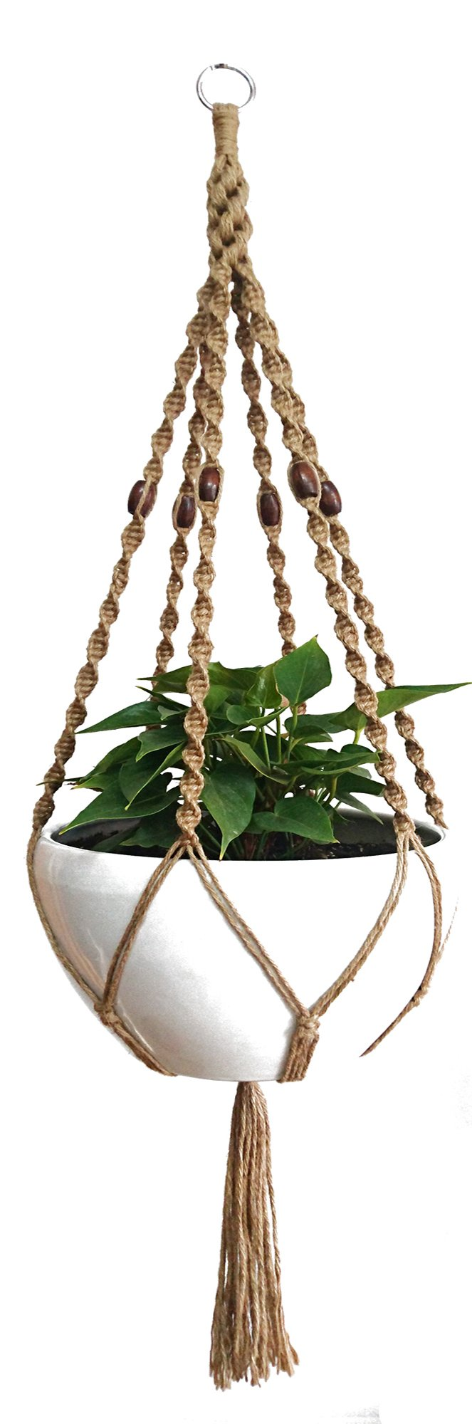 6 Legs Macrame Natural Jute and Cotton Plant Hanger & Holder and Metal Ring, 51-inches Length (Without the white pot and Plant) (Jute) (Brown-Jute)