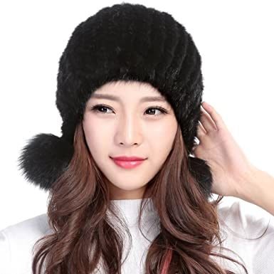 6774e20e Valpeak Womens Winter Hat Knitted Mink Fur Hats Fox Pom Pom (Black ...