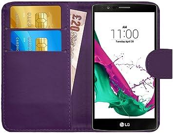 G-Shield Funda para LG G4, Carcasa de Cuero con Ranuras para Tarjetas, Violeta
