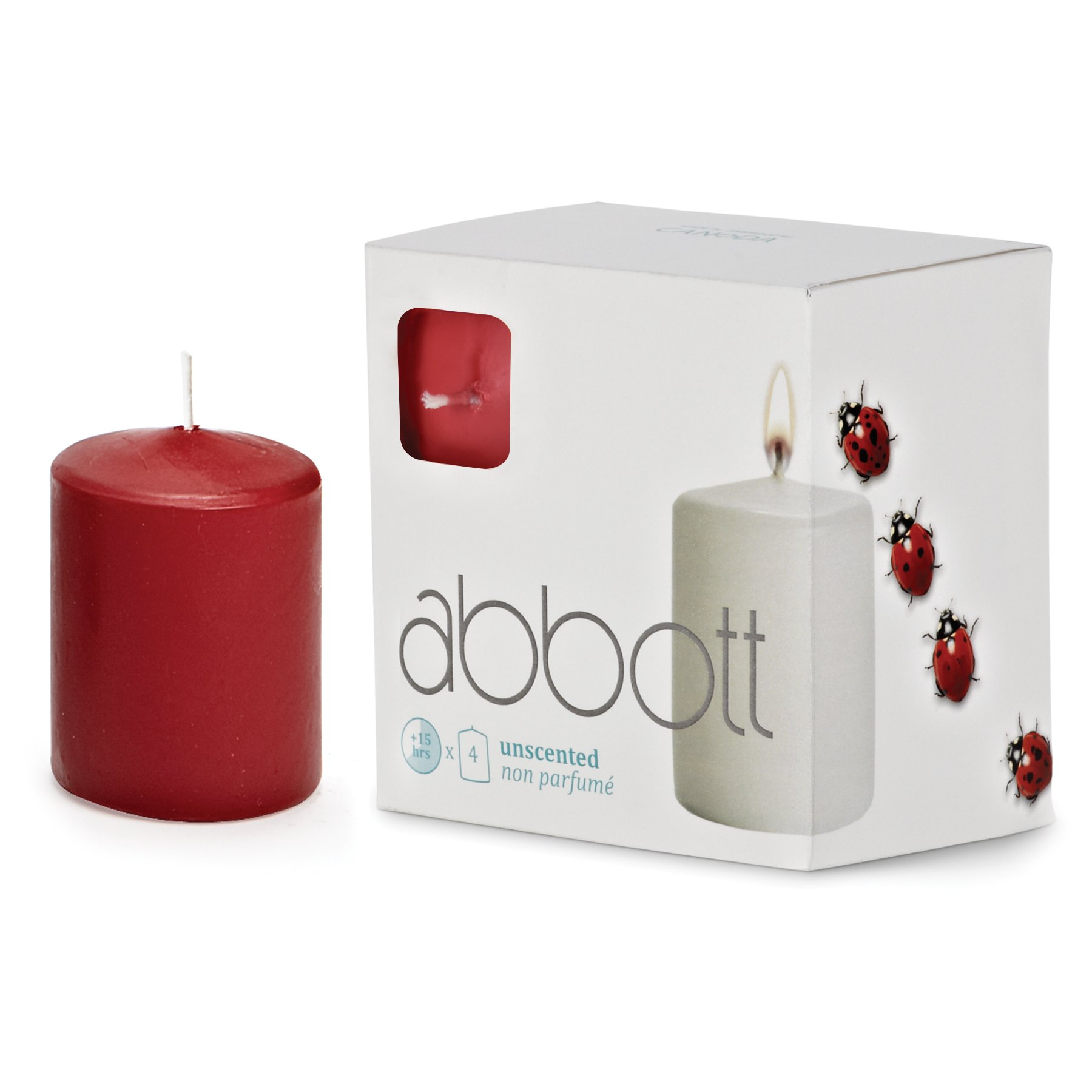Abbott Collection Slim Pillar Candles, Red, Small (4 Pack)