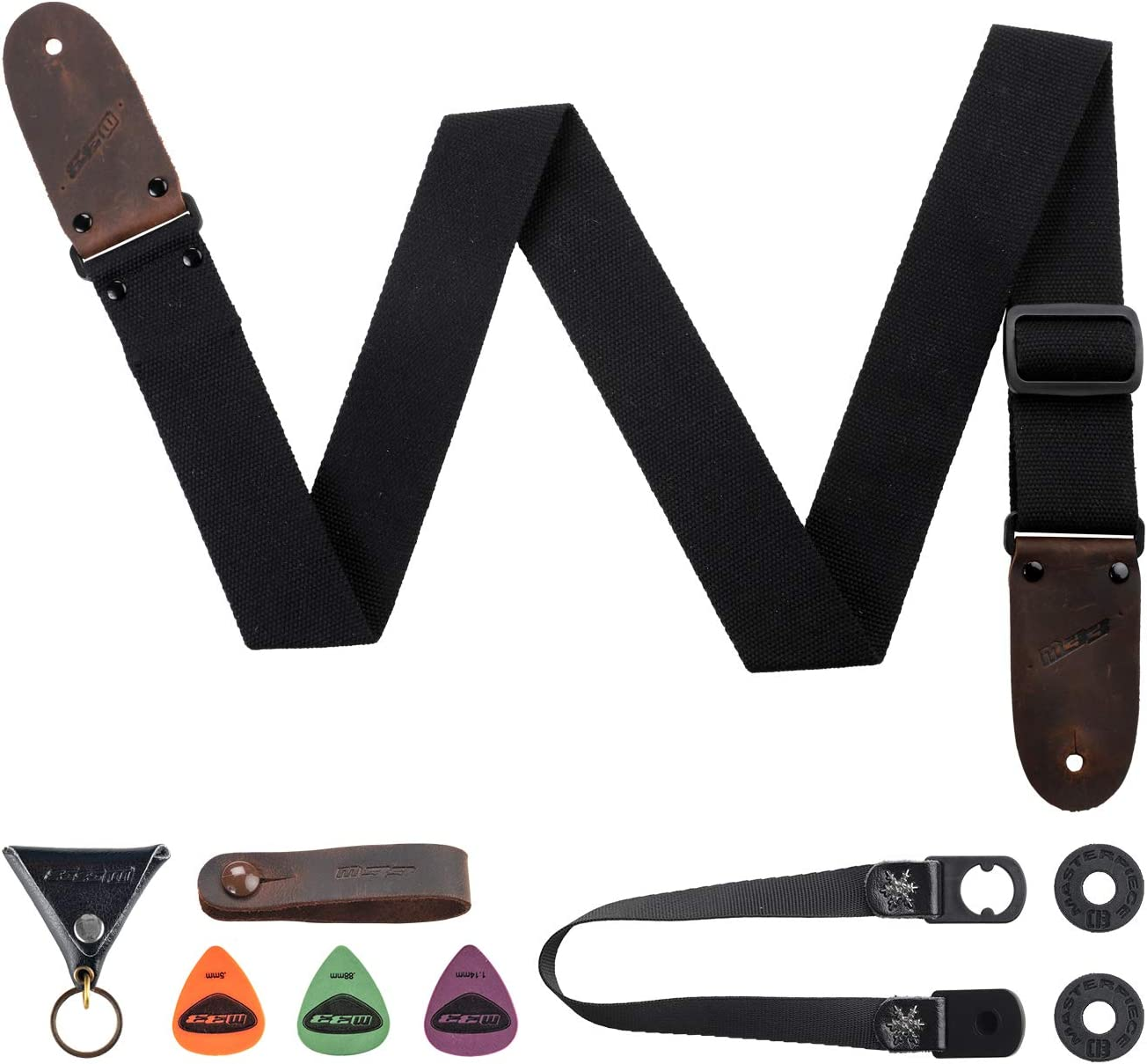 M33 Panda Guitar Strap Leather Ends Shoulder Strap Set for Acoustic Electric and Bass Guitars 2 Wide Includes STRAP BUTTON LOCKS 3 PICKS Christmas Gift for Men Women Guitarist