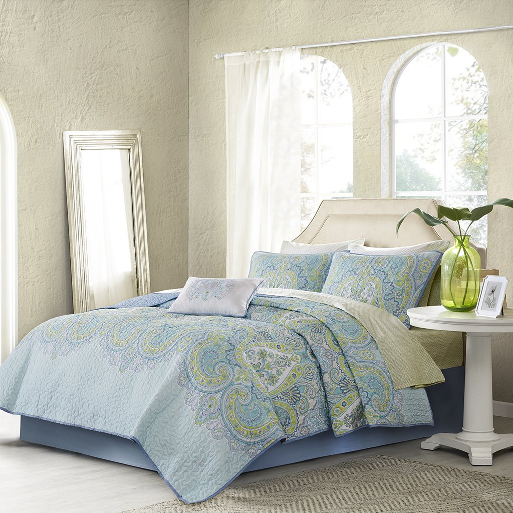 Madison Park Essentials Celeste Full Size Quilt Bedding Set - Aqua, Ruffle Stripes – 8 Piece Bedding Quilt Coverlets – Ultra Soft Microfiber Bed Quilts Quilted Coverlet