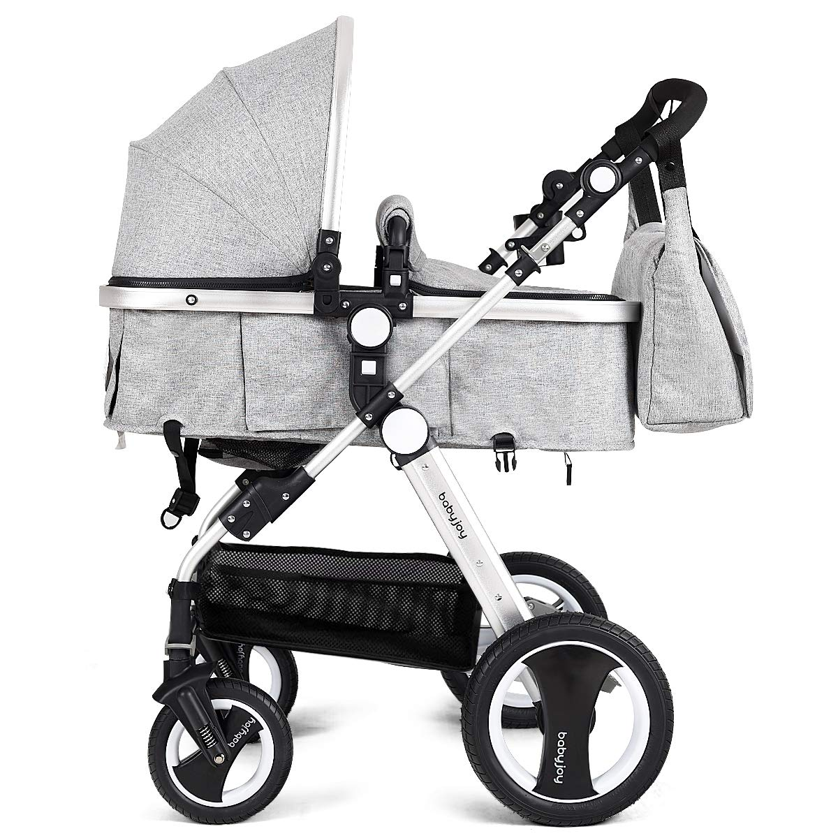 BABY JOY Baby Stroller, Aluminum 2-in-1 Foldable Toddler Stroller, Convertible Bassinet Reclining Stroller Carriage with Cup Holder & Foot Cover & Diaper Bag, Gray