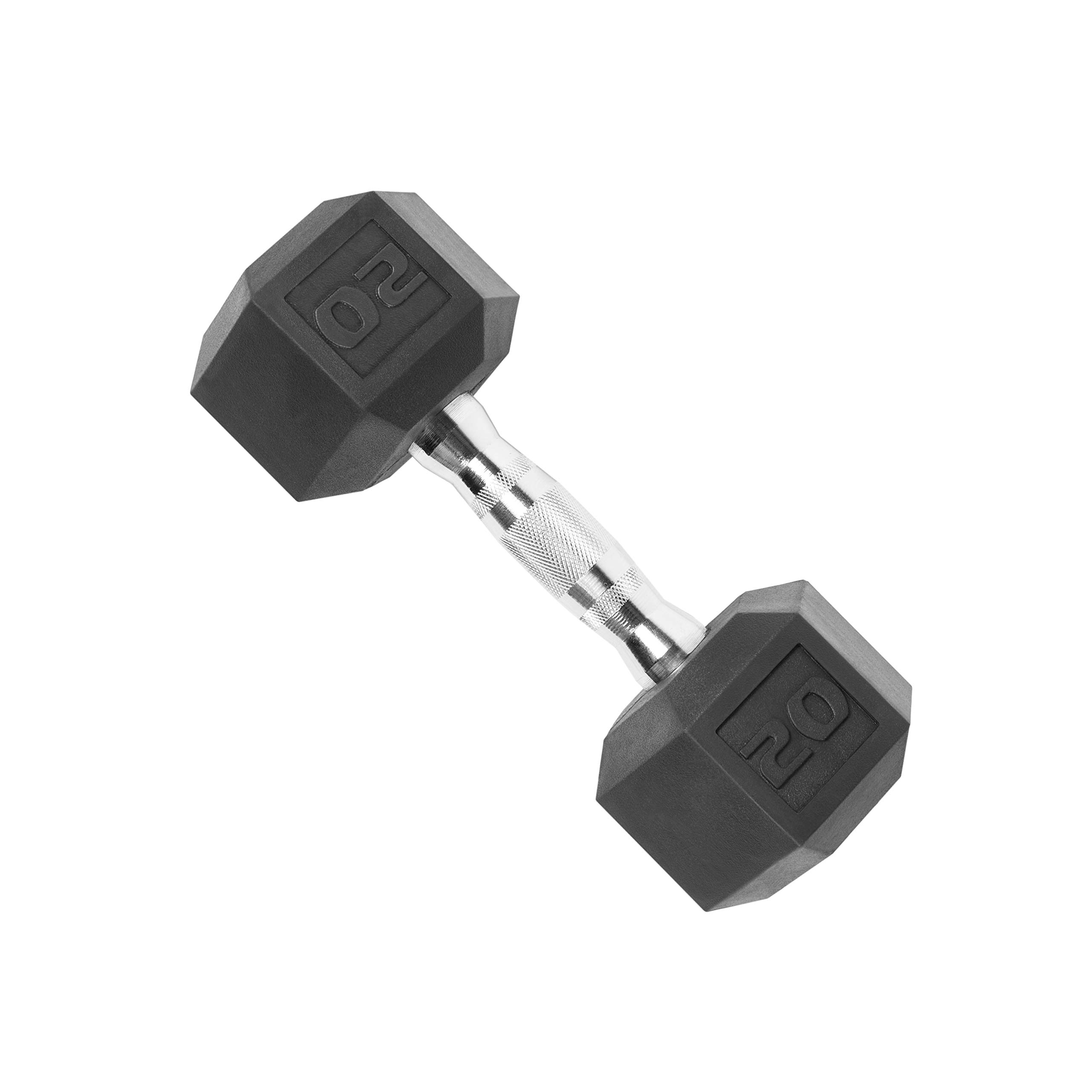 CAP Barbell SDR-020 Rubber Coated Hex Dumbbell with Contoured Chrome Handle (20-Pound), Black