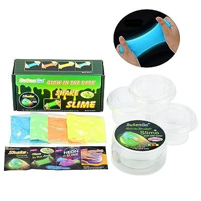 SuSenGo Glow in the Dark Slime Kit- Orange, Jaune, Vert, Bleu, Slimy Expériences