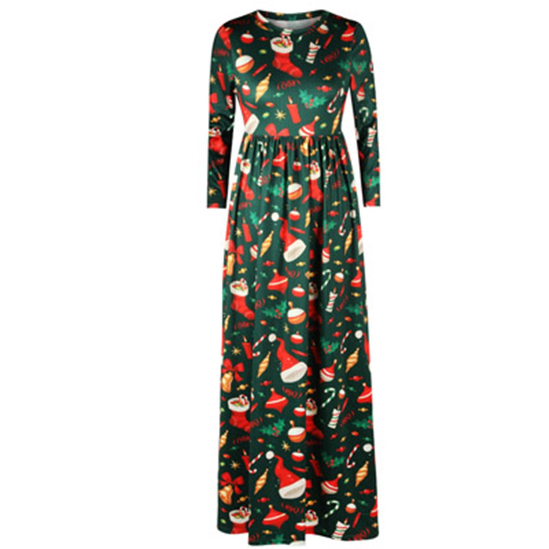 80192 002 BCVHGD Dress 3D Christmas Tree Print Women Nine Point Sleeve Vintage Long Dresses