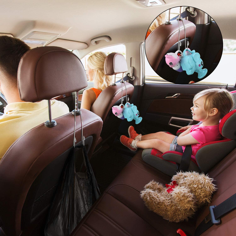 8 Pieces Auto Hooks Car Headrest Hangers Organizer Headrest Hook Holder for Coat Clothes Back Purse Bag Black