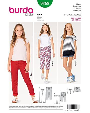 9692130510 Burda 9368 Schnittmuster Hose, Jeans und Shorts (Kids, Gr. 116-158 ...