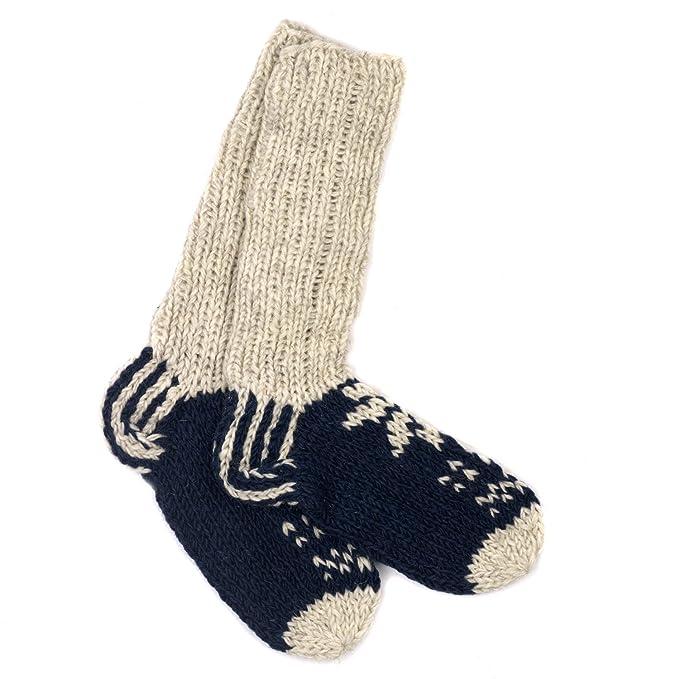 Paper High Funky Tejido a mano invierno lana Lhotse calcetines – azul