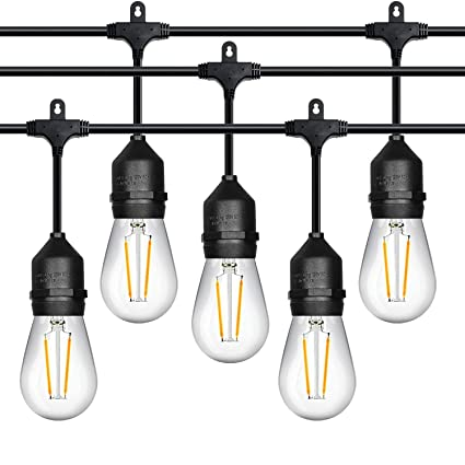 new style 4988d ac79e 52 ft Outdoor String Lights Commercial Grade Weatherproof - 28pack 11W  Incandescent Bulbs Included - UL Listed Heavy Duty - 24 Hanging Sockets -  ...