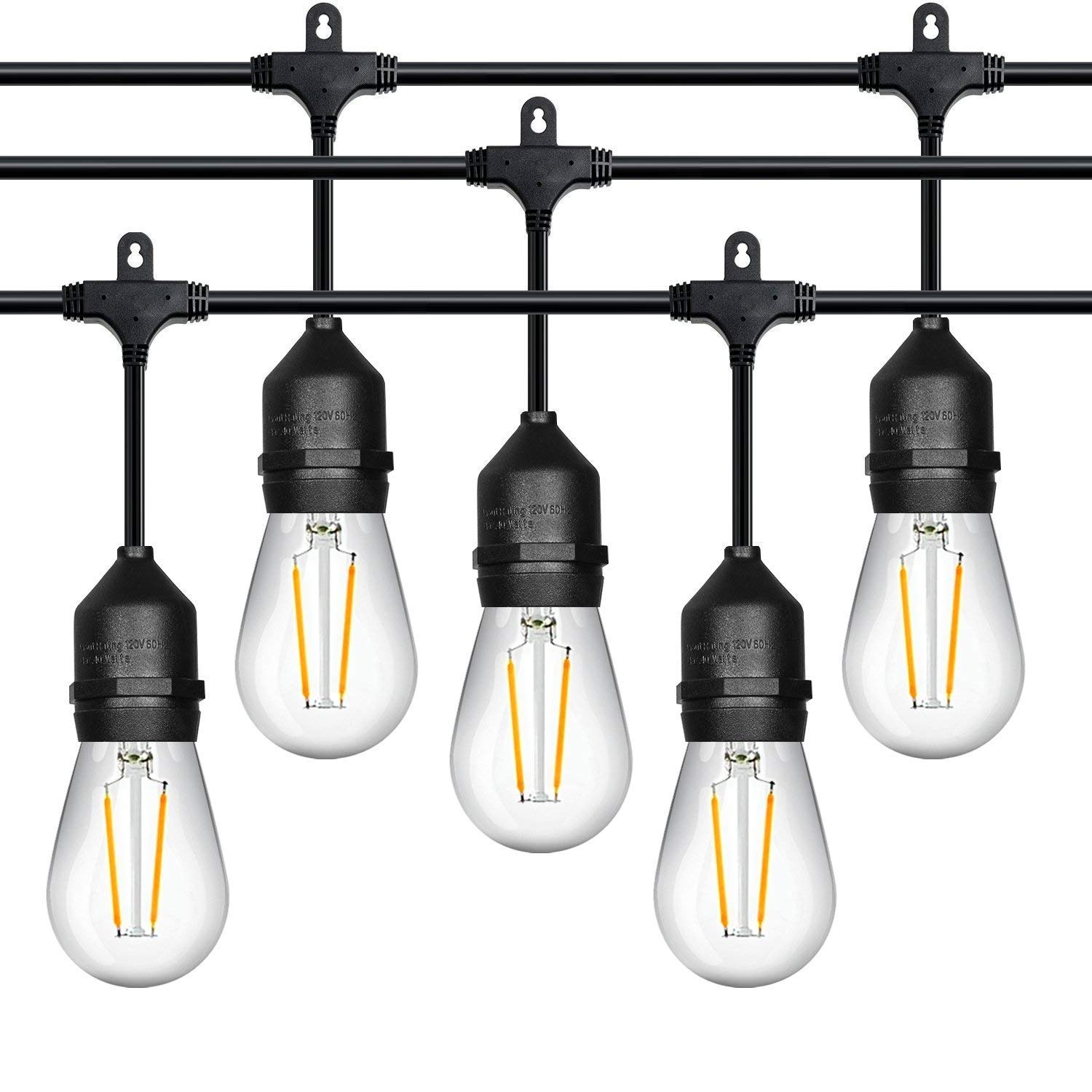 52ft LED Outdoor String Lights Commercial Grade Weatherproof - 20pack 2W Incandescent Bulbs Included - ETL Listed Heavy Duty - 18 Hanging Sockets - Perfect Patio Lights Bistro Market Cafe Lights by FrenchMay (Image #1)